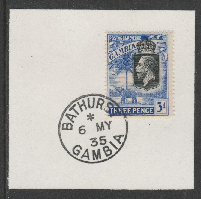 Gambia 1922-29 KG5 Elephant & Palms 3d (SG128) on piece with full strike of Madame Joseph forged postmark type 172