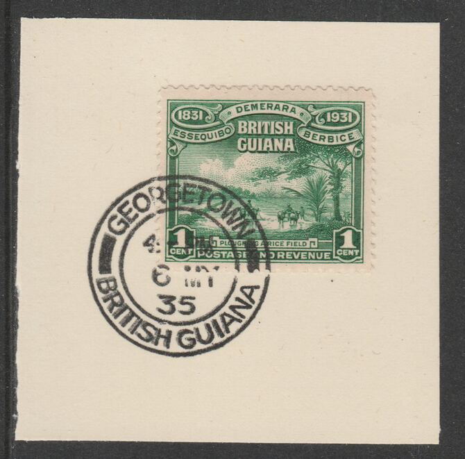 British Guiana 1931 KG5 Centenary 1c emerald (SG283) on piece with full strike of Madame Joseph forged postmark type 69