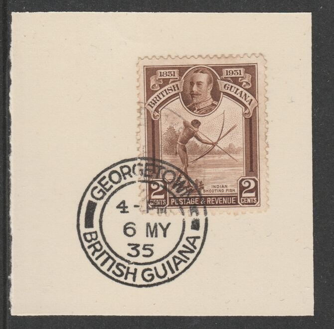 British Guiana 1931 KG5 Centenary 2c brown (SG284) on piece with full strike of Madame Joseph forged postmark type 69