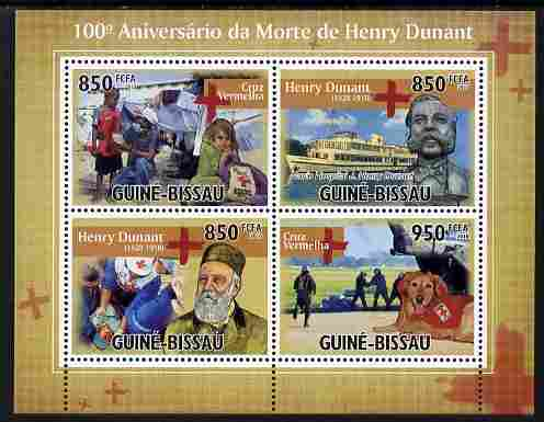 Guinea - Bissau 2010 Death Centenary of Henry Dunant perf sheetlet containing 4 values unmounted mint