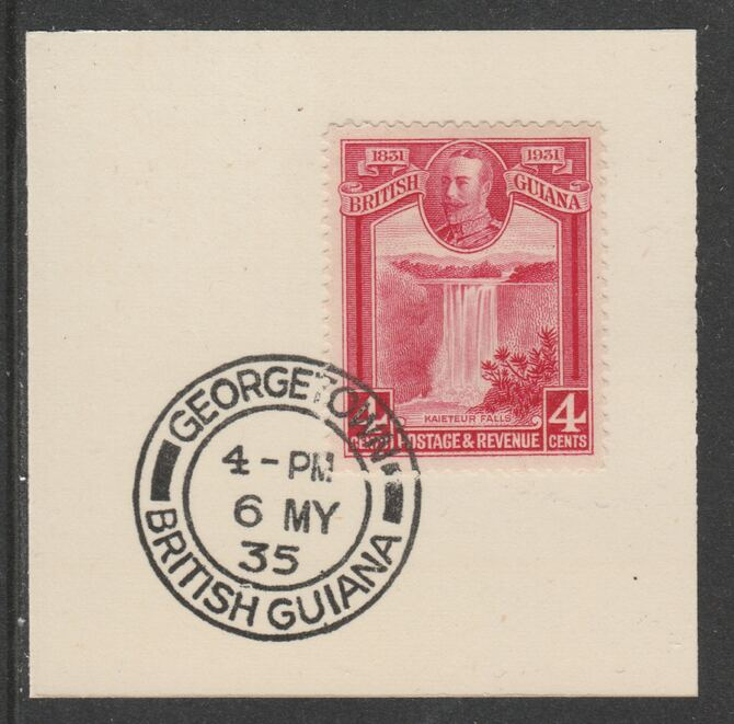 British Guiana 1931 KG5 Centenary 4c carmine (SG285) on piece with full strike of Madame Joseph forged postmark type 69
