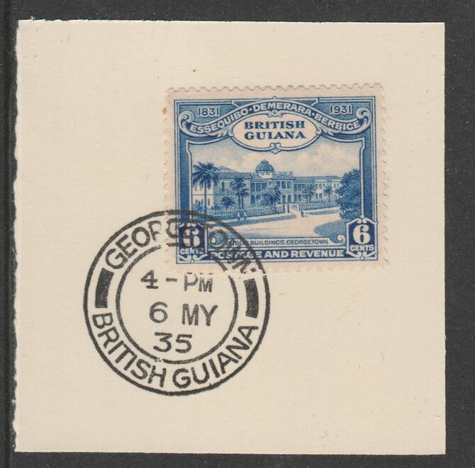 British Guiana 1931 KG5 Centenary 6c blue (SG286) on piece with full strike of Madame Joseph forged postmark type 69