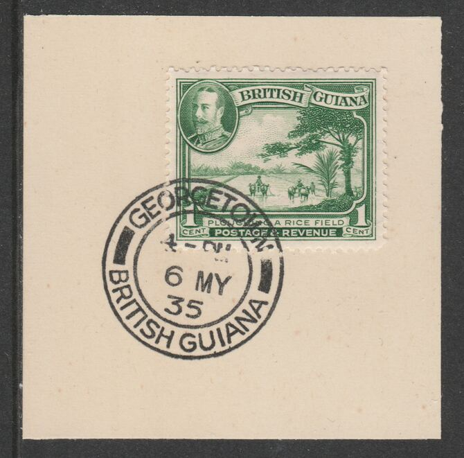 British Guiana 1934-511 KG5 Pictorial 1c emerald (SG288) on piece with full strike of Madame Joseph forged postmark type 69