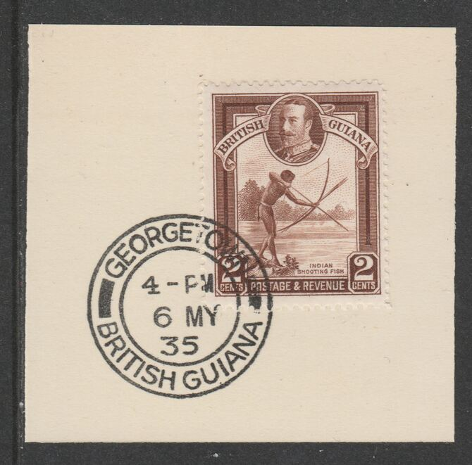 British Guiana 1934-511 KG5 Pictorial 2c red-brown (SG289) on piece with full strike of Madame Joseph forged postmark type 69