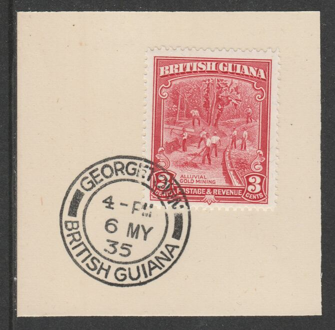 British Guiana 1934-511 KG5 Pictorial 3c scarlet (SG290) on piece with full strike of Madame Joseph forged postmark type 69