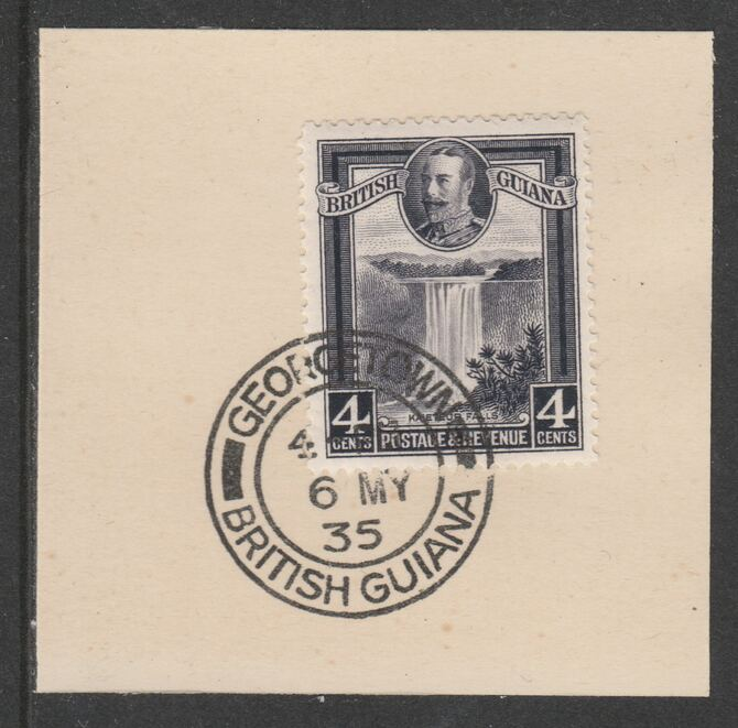British Guiana 1934-511 KG5 Pictorial 4c slate-violet (SG291) on piece with full strike of Madame Joseph forged postmark type 69
