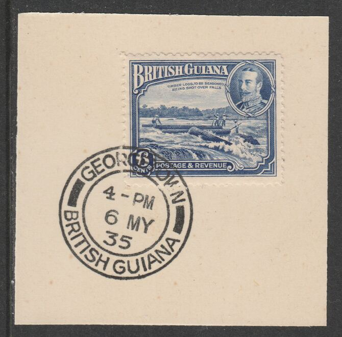 British Guiana 1934-511 KG5 Pictorial 6c ultramarine (SG292) on piece with full strike of Madame Joseph forged postmark type 69