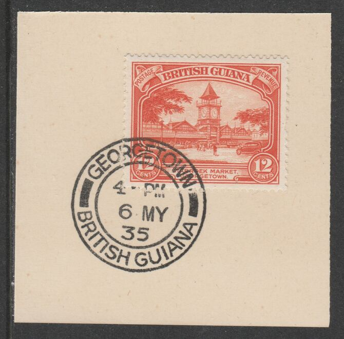 British Guiana 1934-511 KG5 Pictorial 12c red-orange (SG293) on piece with full strike of Madame Joseph forged postmark type 69