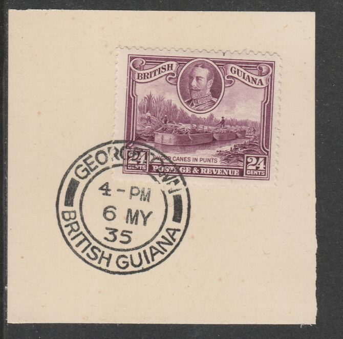 British Guiana 1934-511 KG5 Pictorial 24c purple (SG294) on piece with full strike of Madame Joseph forged postmark type 69
