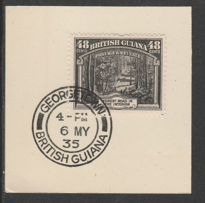 British Guiana 1934-511 KG5 Pictorial 48c black (SG295) on piece with full strike of Madame Joseph forged postmark type 69