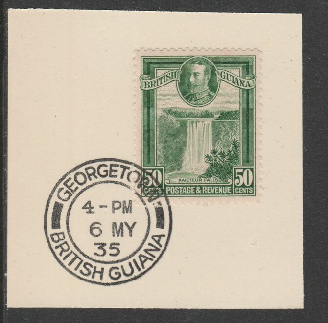 British Guiana 1934-511 KG5 Pictorial 50c green (SG296) on piece with full strike of Madame Joseph forged postmark type 69