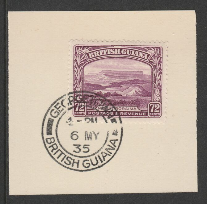 British Guiana 1934-511 KG5 Pictorial 72c purple (SG298) on piece with full strike of Madame Joseph forged postmark type 69