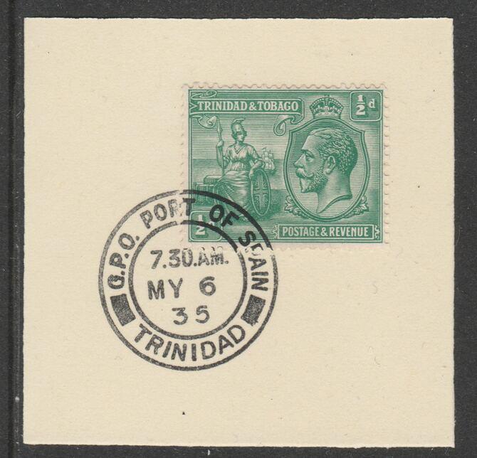 Trinidad & Tobago 1922-28 KG5  & Britannia 1/2d (SG218) on piece with full strike of Madame Joseph forged postmark type 421