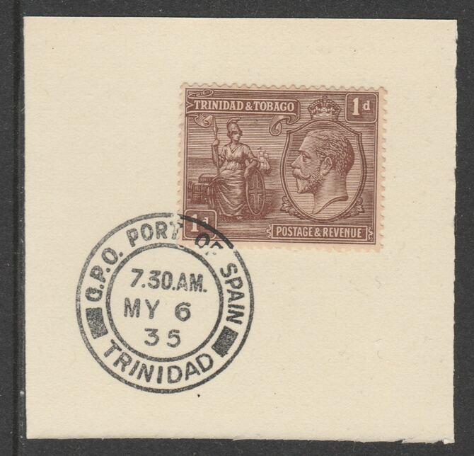 Trinidad & Tobago 1922-28 KG5  & Britannia 1d (SG219) on piece with full strike of Madame Joseph forged postmark type 421
