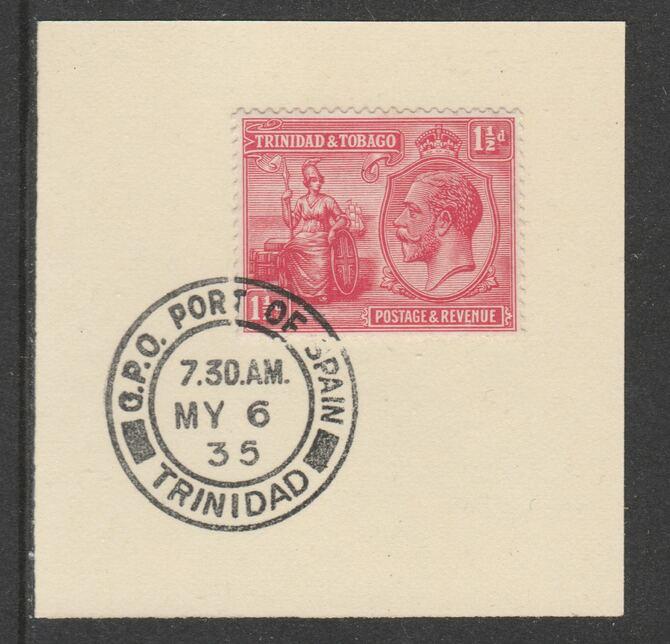 Trinidad & Tobago 1922-28 KG5  & Britannia 1.5d (SG220) on piece with full strike of Madame Joseph forged postmark type 421