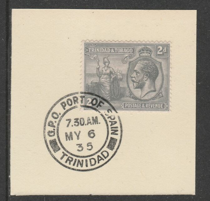 Trinidad & Tobago 1922-28 KG5  & Britannia 2d (SG222) on piece with full strike of Madame Joseph forged postmark type 421