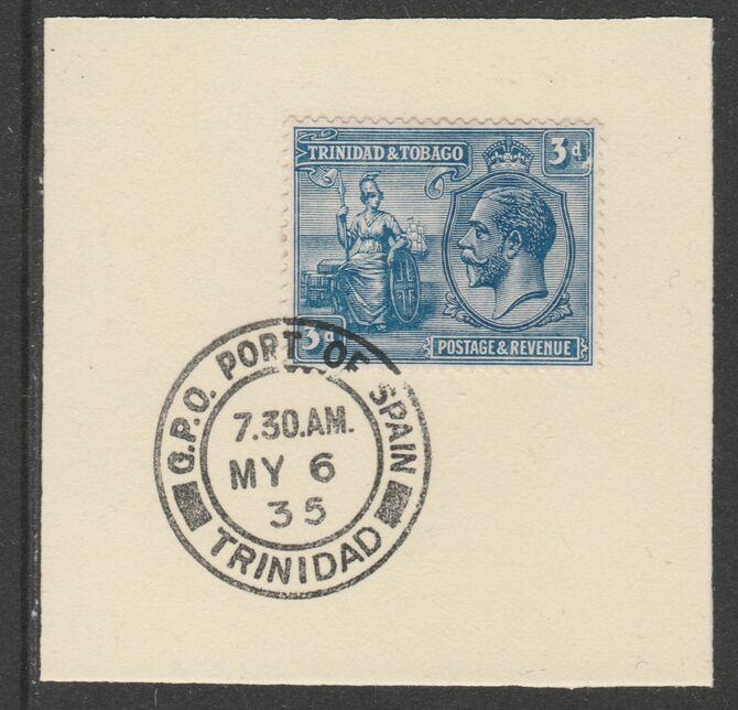 Trinidad & Tobago 1922-28 KG5  & Britannia 3d (SG223) on piece with full strike of Madame Joseph forged postmark type 421