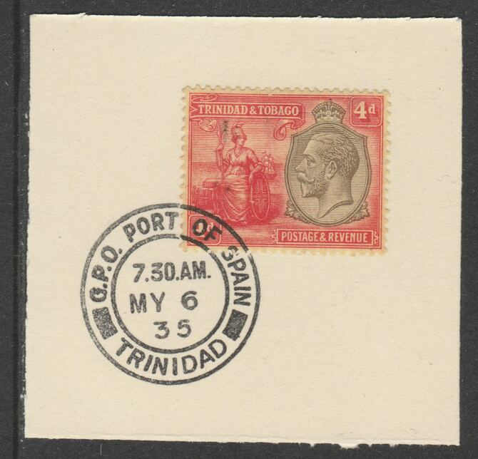 Trinidad & Tobago 1922-28 KG5  & Britannia 4d Script (SG224) on piece with full strike of Madame Joseph forged postmark type 421