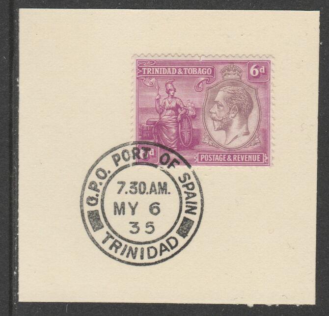 Trinidad & Tobago 1922-28 KG5  & Britannia 6d (SG225) on piece with full strike of Madame Joseph forged postmark type 421