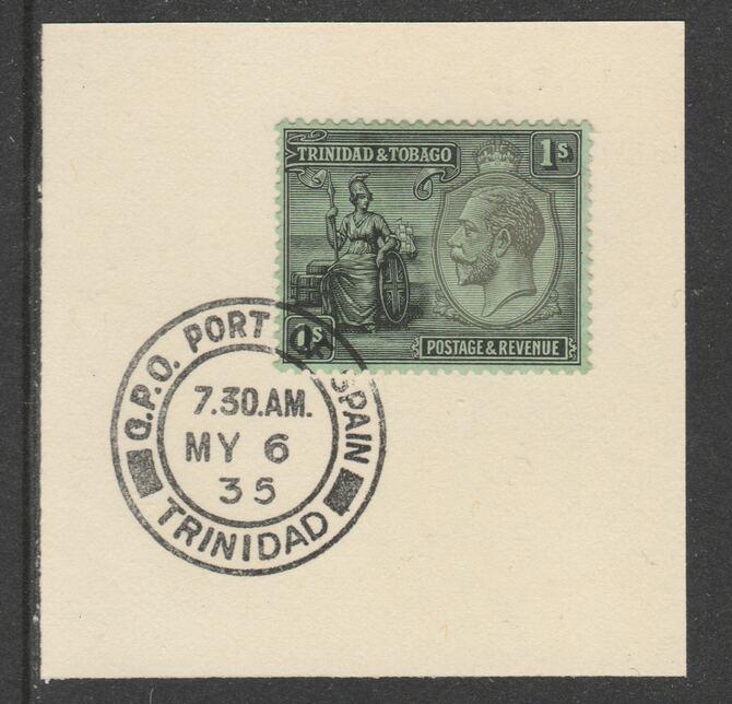 Trinidad & Tobago 1922-28 KG5  & Britannia 1s Script (SG227) on piece with full strike of Madame Joseph forged postmark type 421