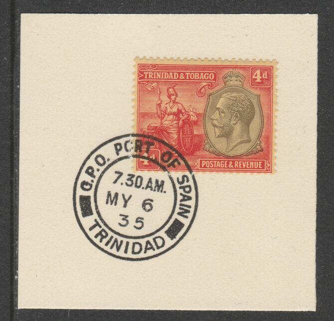 Trinidad & Tobago 1922-28 KG5  & Britannia 4d MCA (SG216) on piece with full strike of Madame Joseph forged postmark type 421