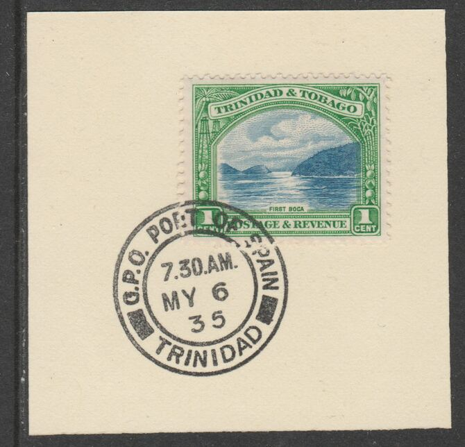 Trinidad & Tobago 1935-37 KG5  Pictorial 1c (SG230) on piece with full strike of Madame Joseph forged postmark type 421