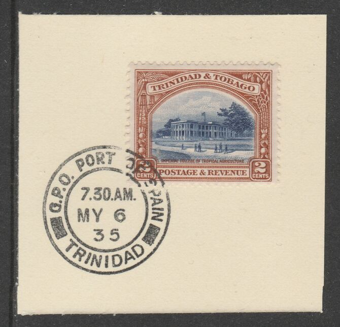 Trinidad & Tobago 1935-37 KG5  Pictorial 2c (SG231) on piece with full strike of Madame Joseph forged postmark type 421