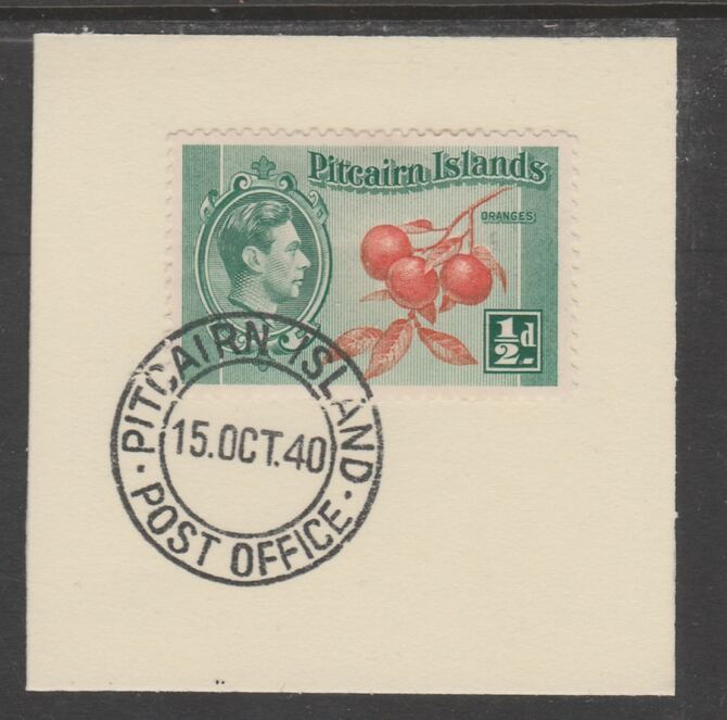 Pitcairn Islands 1940-51 KG6 Pictorial 1/2d (SG 1) on piece with full strike of Madame Joseph forged postmark type 323