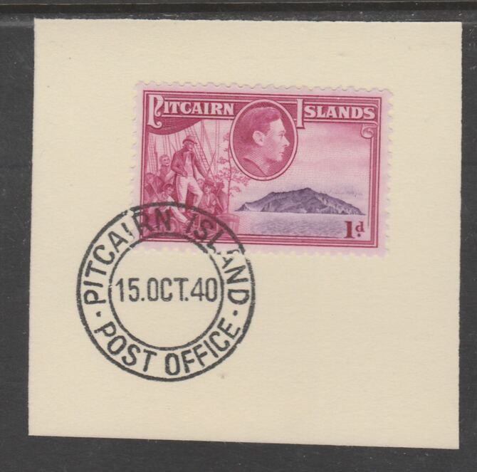 Pitcairn Islands 1940-51 KG6 Pictorial 1d (SG 2) on piece with full strike of Madame Joseph forged postmark type 323