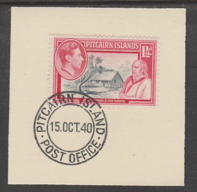 Pitcairn Islands 1940-51 KG6 Pictorial 1.5d (SG 3) on piece with full strike of Madame Joseph forged postmark type 323