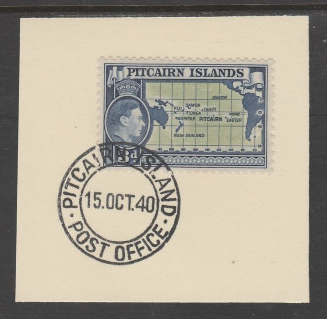 Pitcairn Islands 1940-51 KG6 Pictorial 3d (SG 5) on piece with full strike of Madame Joseph forged postmark type 323