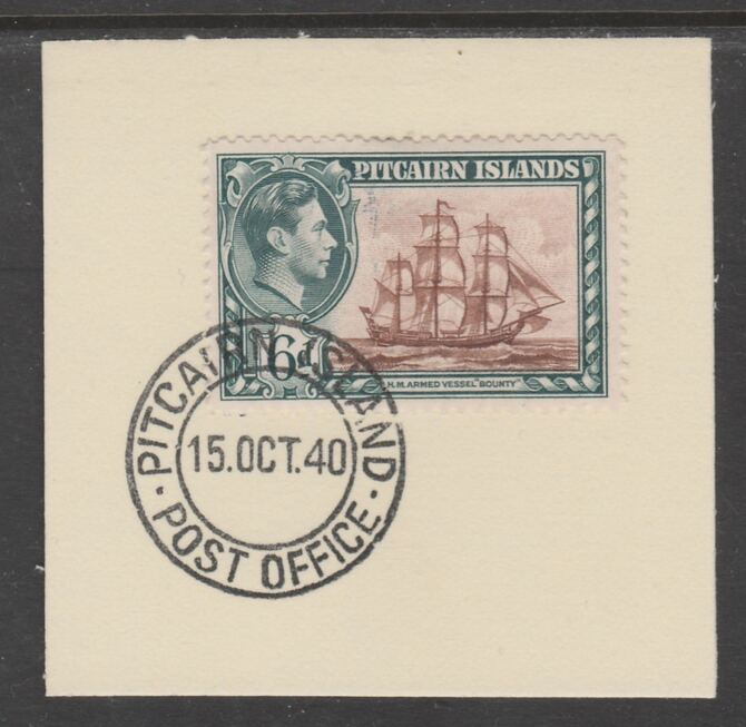 Pitcairn Islands 1940-51 KG6 Pictorial 6d (SG 6) on piece with full strike of Madame Joseph forged postmark type 323