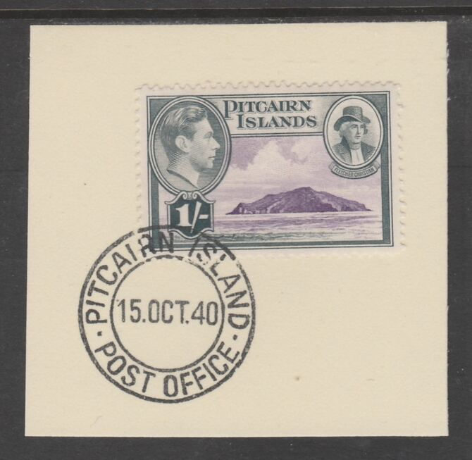 Pitcairn Islands 1940-51 KG6 Pictorial 1s (SG 7) on piece with full strike of Madame Joseph forged postmark type 323