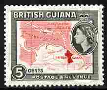 British Guiana 1954-63 Map 5c Script CA unmounted mint SG 335