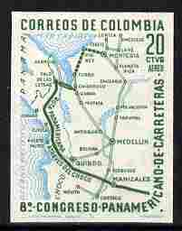 Colombia 1961 Highway Congress 20c Air imperf proof in green & blue on ungummed paper, as SG 1058