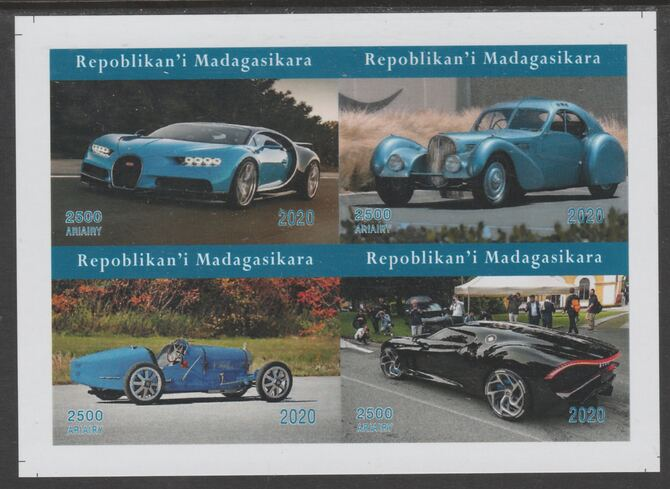 Madagascar 2020 Cars imperf sheetlet containing 4 values unmounted mint. Note this item is privately produced and is offered purely on its thematic appeal, it has no postal validity