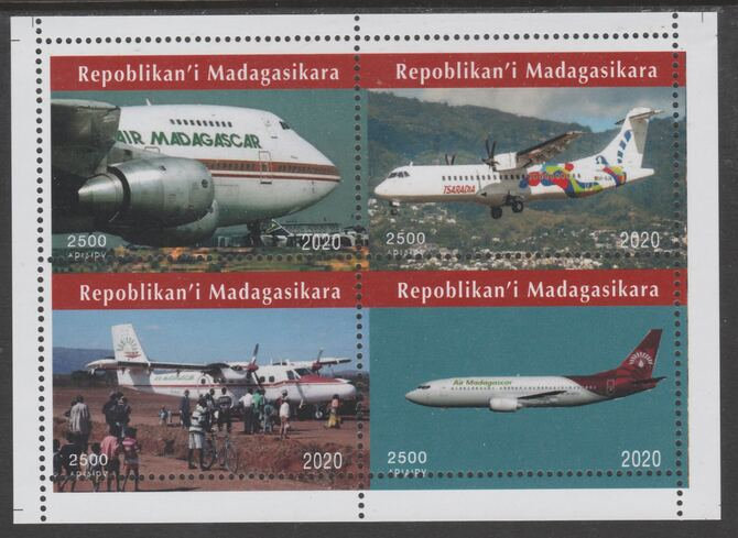 Madagascar 2020 Aircraft perf sheetlet containing 4 values unmounted mint. Note this item is privately produced and is offered purely on its thematic appeal, it has no postal validity