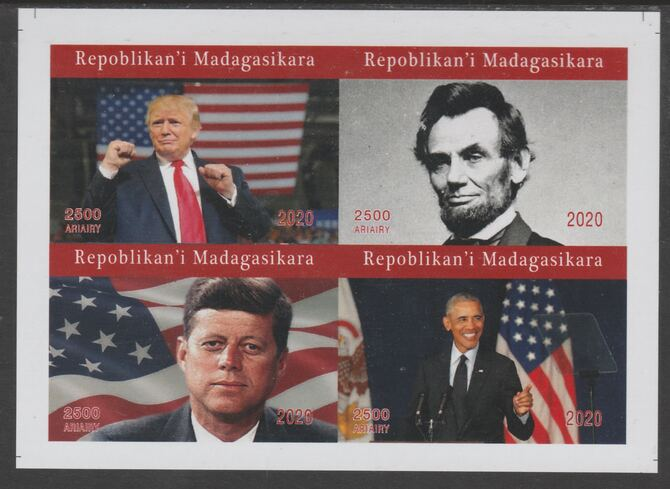 Madagascar 2020 US Presidents imperf sheetlet containing 4 values unmounted mint. Note this item is privately produced and is offered purely on its thematic appeal, it has no postal validity