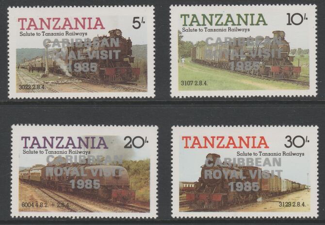 Tanzania 1985 Locomotives perf set of 4 with 'Caribbean Royal Visit 1985' opt in silver (unissued) unmounted mint