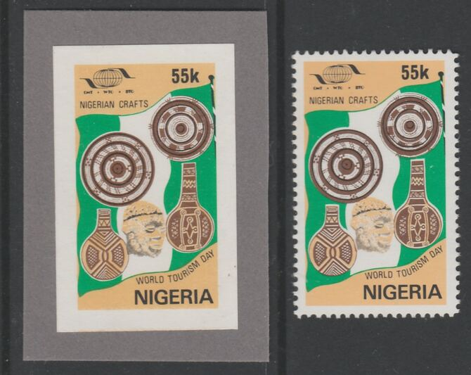 Nigeria 1985 World Tourism Day 55k Nigerian Crafts imperf machine proof mounted on grey card similar to issued stamp as submitted for approval, plus issued stamp