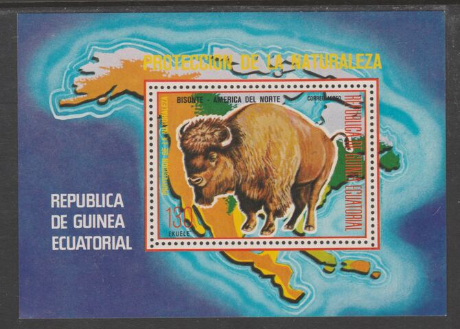 Equatorial Guinea 1977 North American Animals (Buffalo) perf m/sheet unmounted mint, MI BL 271