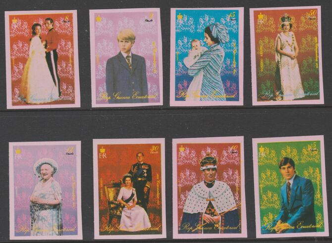 Equatorial Guinea 1978 25th Anniversary of Coronation - Royal Family imperf set of 8 values unmounted mint Mi 1333-1340