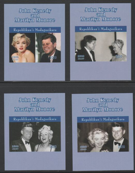 Madagascar 2020 John Kennedy & Marilyn Monroe set of 4 imperfm/sheets. Note this item is privately produced and is offered purely on its thematic appeal, it has no postal validity, stamps on kennedy, stamps on marilyn, stamps on us presidents, stamps on americana