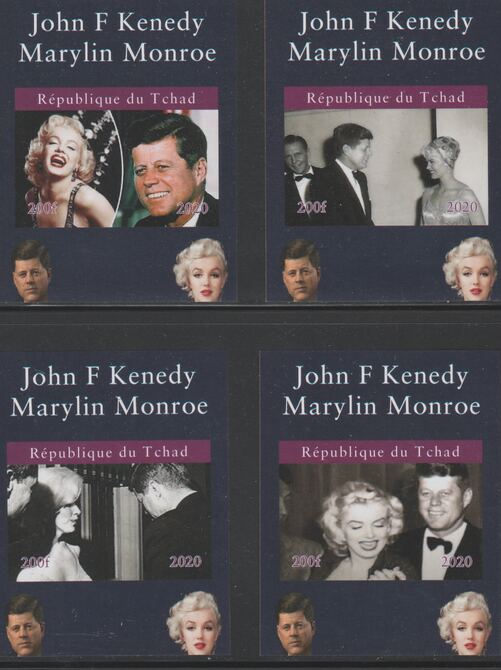 Chad 2020 John Kennedy & Marilyn Monroe set of 4 imperfm/sheets. Note this item is privately produced and is offered purely on its thematic appeal, it has no postal validity
