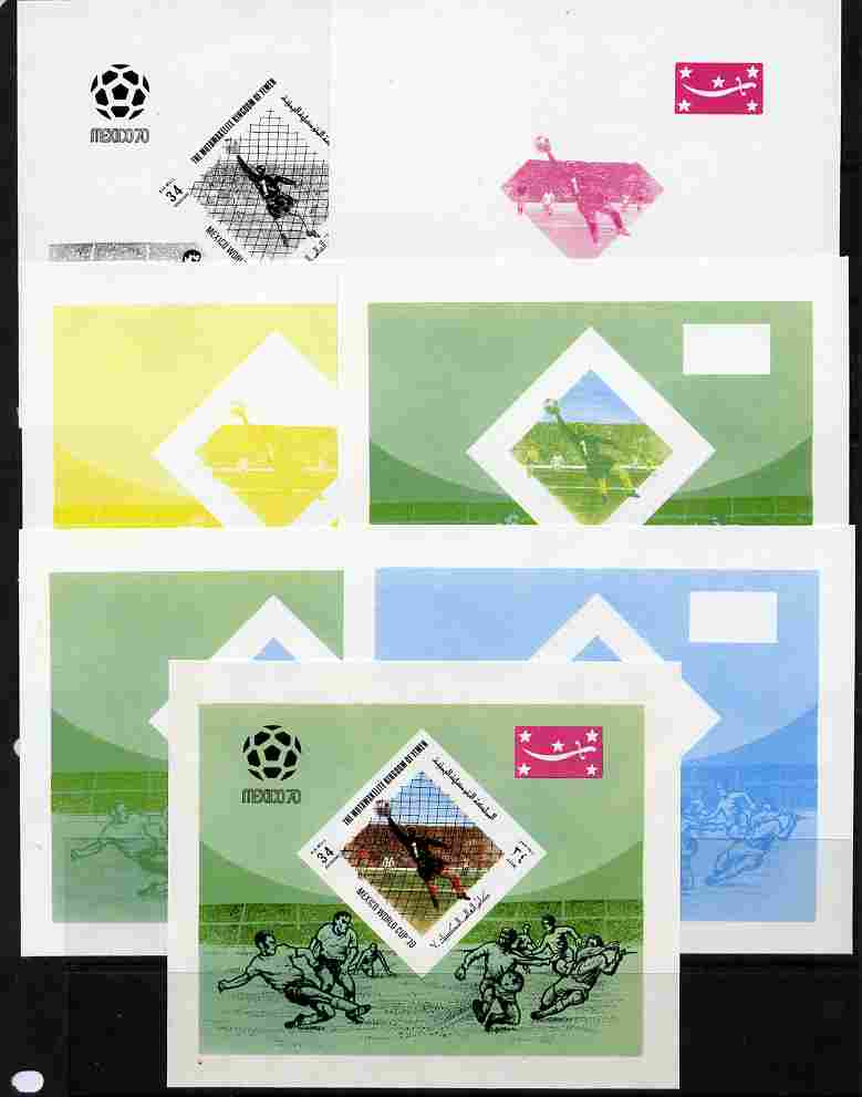 Yemen - Royalist 1970 World Cup Football 34b value (diamond shaped) m/sheet the set of 7 imperf progressive proofs comprising the 4 individual colours plus 2, 3 and all 4...