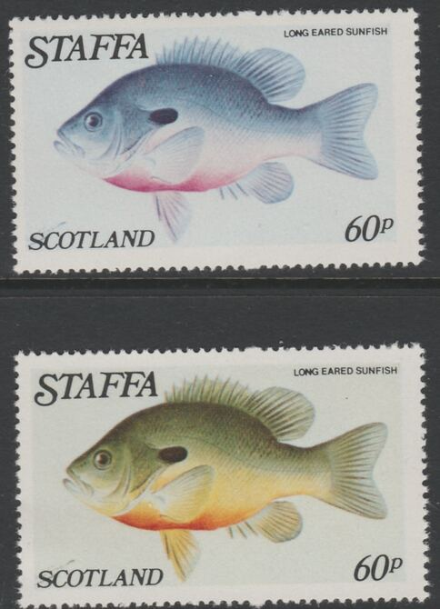 Staffa 1979 Fish - Long Eared Sunfish 60p perf single showing a superb shade apparently due to a dry print of the yellow complete with normal both unmounted mint