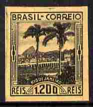 Brazil 1939 Rio de Janeiro 1200r imperf proof in black on toned paper (ungummed) part official handstamp on reverse, as SG 615