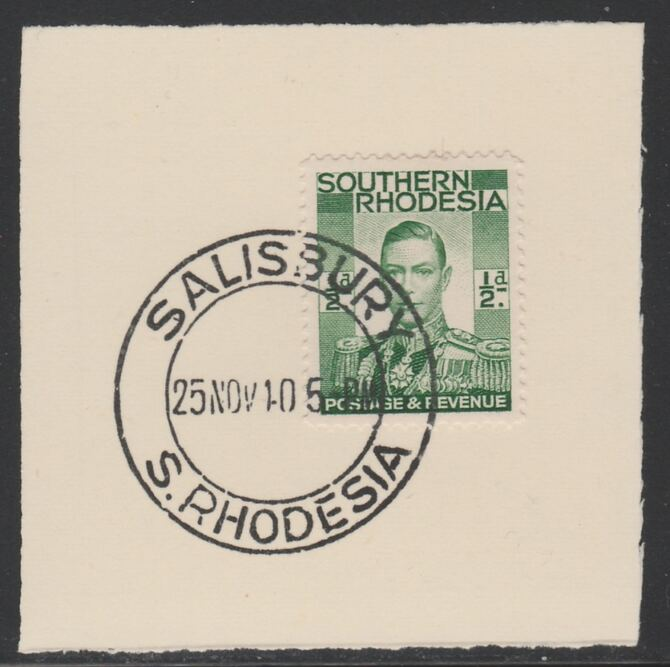 Southern Rhodesia 1937 KG6 def 1/2d green on piece with full strike of Madame Joseph forged postmark type 332, SG40