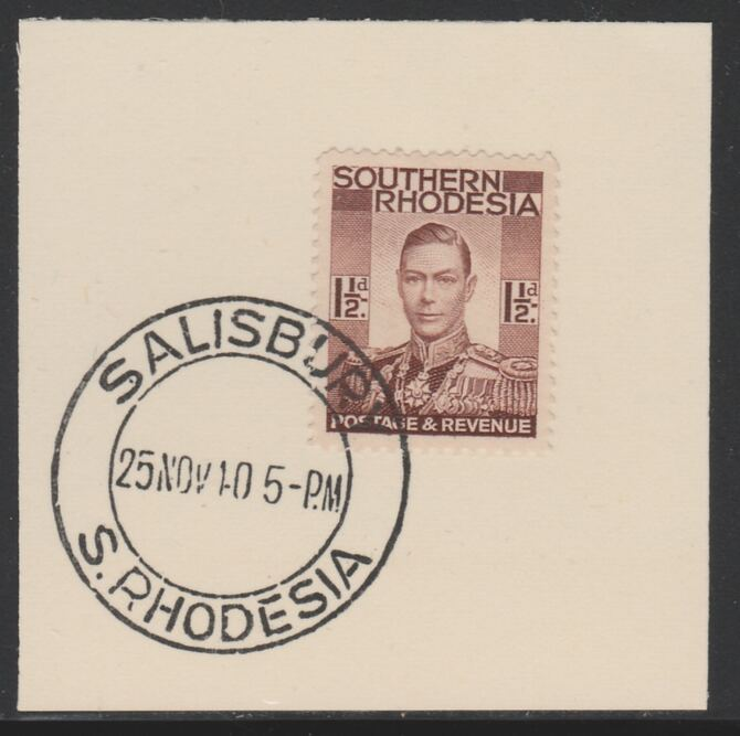 Southern Rhodesia 1937 KG6 def 1.5d red-brown on piece with full strike of Madame Joseph forged postmark type 332, SG42