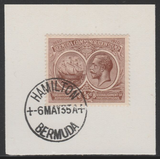 Bermuda 1920-21 KG5 Tercentenary (1st issue) 1/4d (SG 59) on piece with full strike of Madame Joseph forged cancellation type 61